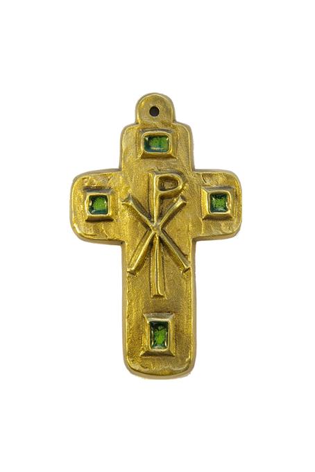 L24-Cabochons-emaux-Chrisme-croix-murale-vert-9-5cm