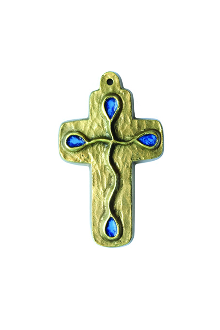 L25 – Motif goutte sur croix murale en bronze émaillé