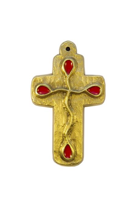 L25-Motif-goutte-email-rouge-croix-murale-bronze-9-5-cm
