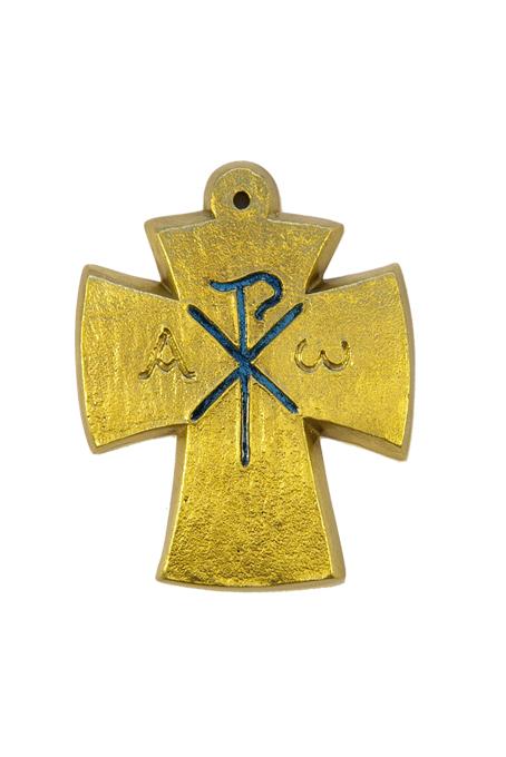 L27-bleu-Alpha-Omega-Chrisme-croix-bronze-email-9-4cm