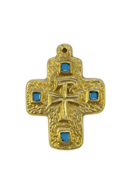 L29-Monogramme-Chrisme-croix-cabochons-bleu-7-8cm