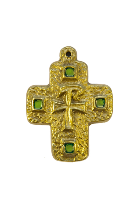 L29-Monogramme-Chrisme-croix-cabochons-vert-7-8cm