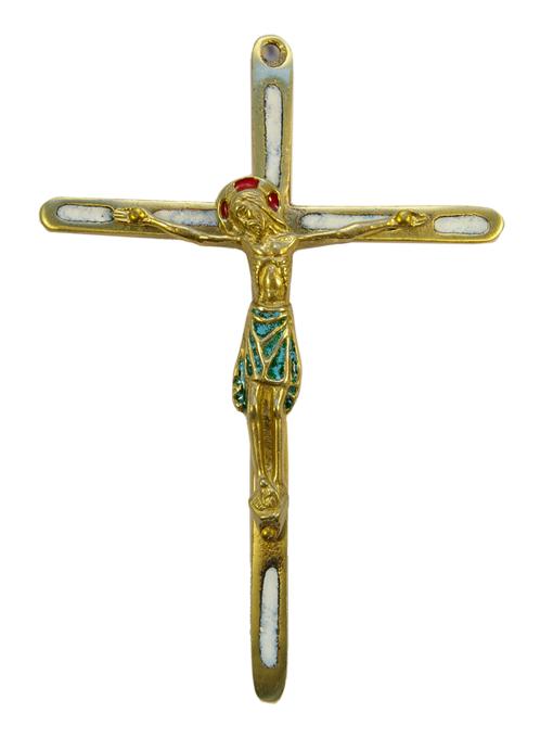 0188-810-Christ-crucifix-bronze-emaux-blanc-14-5-cm