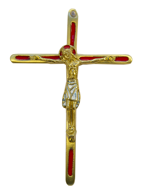 0188-810-Christ-crucifix-bronze-emaux-rouge-14-5-cm