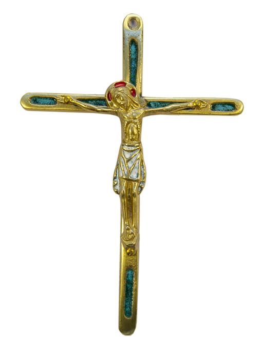 0188-810-Christ-crucifix-bronze-emaux-vert-14-5-cm