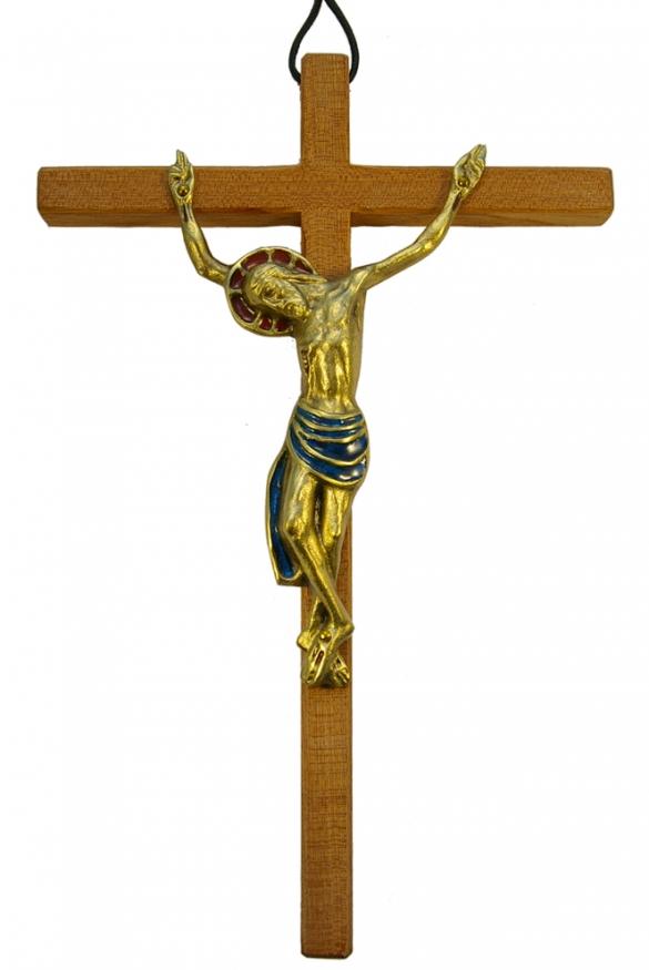 520-Christ-bronze–bleu-croix-mural-25cm