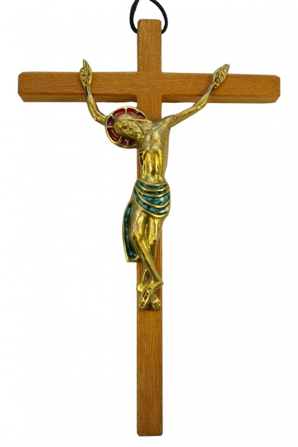 520-Christ-bronze-vert-croix-mural-25cm