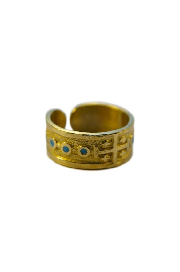 Dizainier – bague ouverte en bronze ornée de la croix de Jérusalem et d'émaux grand feu