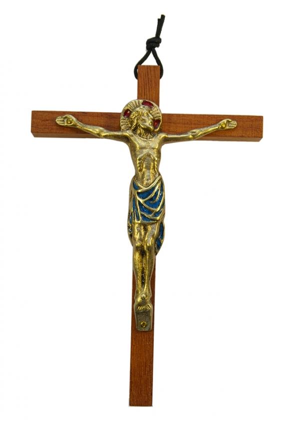 0111-18cm-bleu-Christ-bronze-email-croix-bois