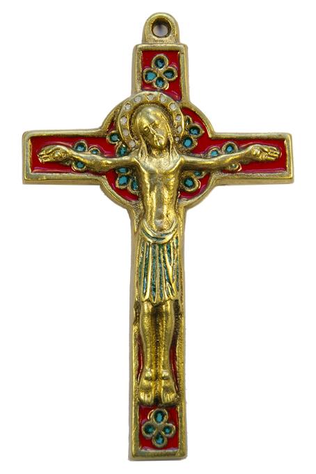 019-Crucifix-emaux-rouge-trefles-croix-celte-15cm
