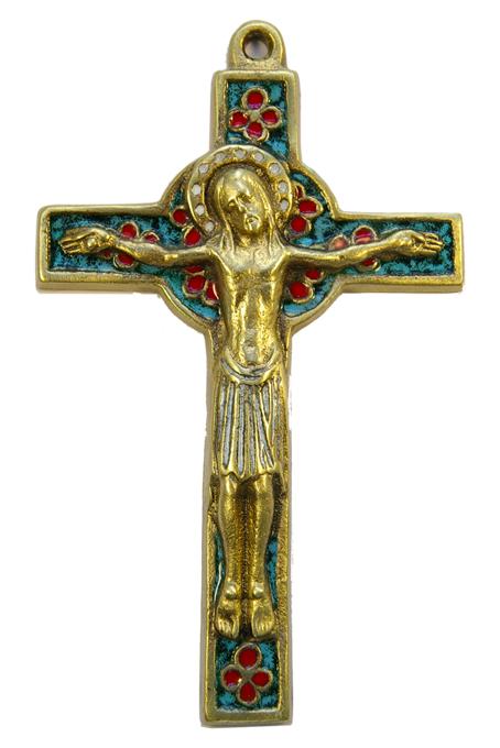 019-Crucifix-emaux-vert-trefles-croix-celte-15cm