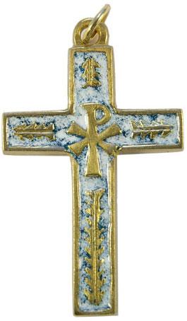 Croix avec chrisme et palmes en bronze et émaux grand feu blancs -5,7cm – 0125