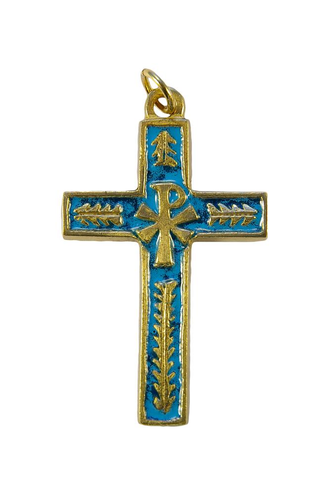 Croix avec chrisme et palmes en bronze et émaux grand feu bleus -5,7cm – 0125