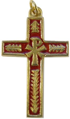 Croix de communion avec chrisme et palmes en bronze et émaux grand feu rouges