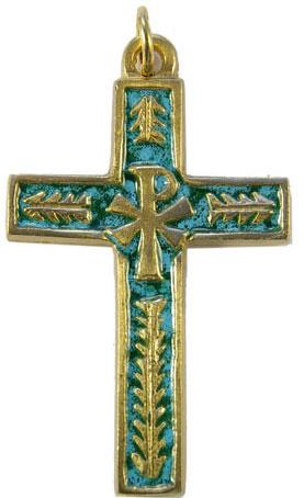 Croix de communion avec chrisme et palmes en bronze et émaux grand feu verts