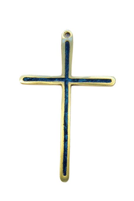 Croix en bronze émaillé en bleu 0189 à suspendre au mur, pour un cadeau de communion ou pour porter sur une aube.