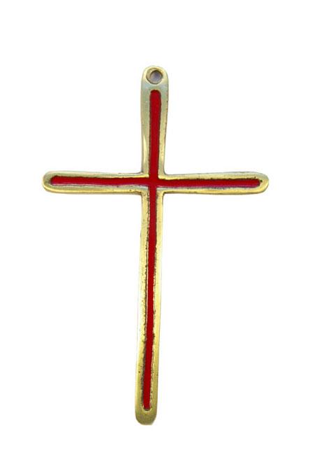 Croix en bronze émaillé en rouge 0189 à suspendre au mur, pour un cadeau de communion ou pour porter sur une aube.