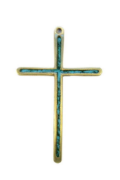 Croix en bronze émaillé en vert 0189 à suspendre au mur, pour un cadeau de communion ou pour porter sur une aube.