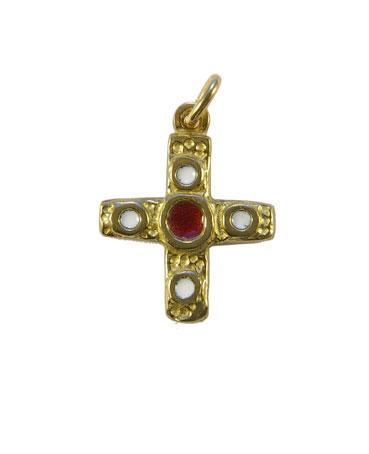 Croix en bronze émaillé centre rouge & 4 cabochons blancs – 0224 Bijou en pendentif, cadeau de baptême