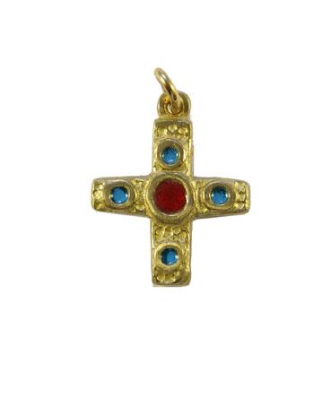 Croix en bronze émaillé centre rouge & 4 cabochons bleus – 0224 Bijou en pendentif, cadeau de baptême
