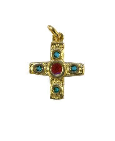 Croix en bronze émaillé centre rouge & 4 cabochons verts – 0224 Bijou en pendentif, cadeau de baptême
