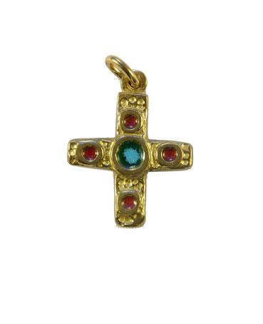 0224-cadeau-bapteme-bebe-croix-vert-4-cabochons-rouges-2-7cm