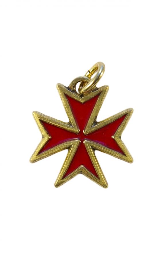Bijou pendentif en forme de croix de Malte, en bronze émaillé selon la technique des émaux limousins dite aussi émaux grand feu.