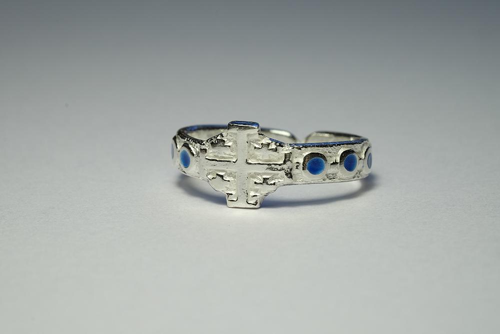 Dizainier argent & émaux bleus en cabochons - bijou pour la prière
