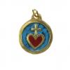 Médaille Sacré-Cœur : bijou en pendentif, en bronze & émaux grand feu, avec le cœur émaillé en rouge, sur un fond en émail bleu