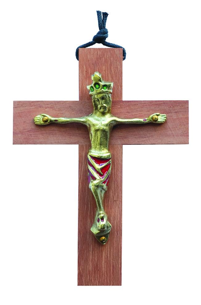 Crucifix bois- christ émaillé rouge