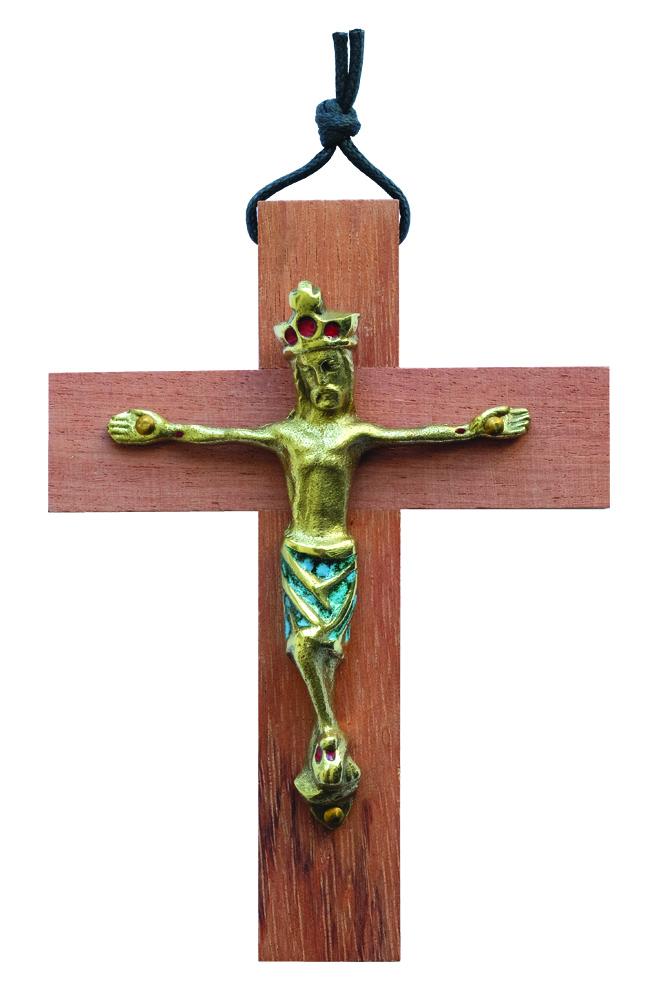 Crucifix bois- christ émaillé vert