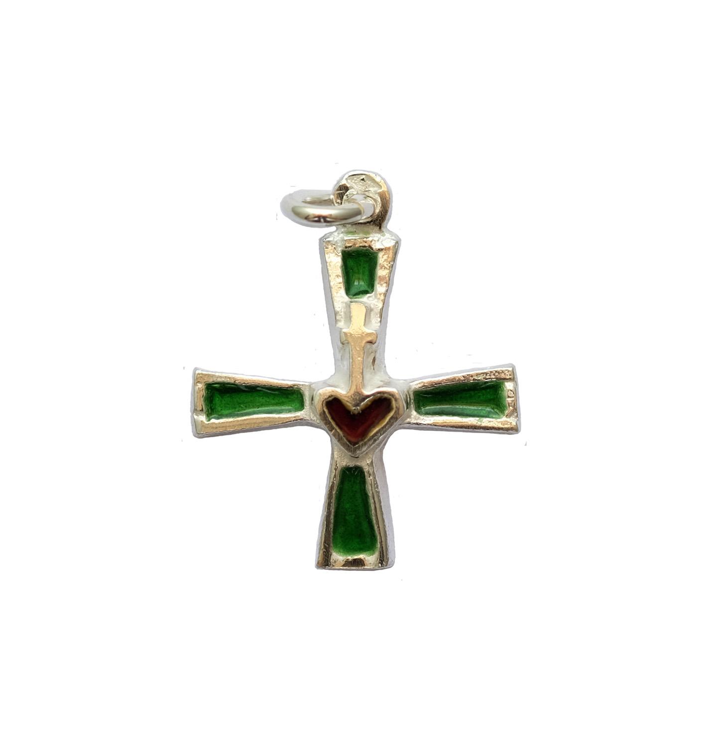 Pendentif croix sacré-coeur argent
